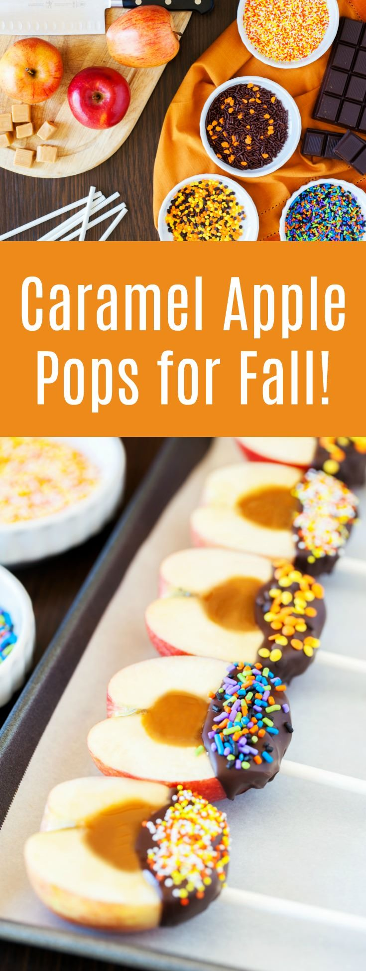 Learn how to make delicious candy apples on a stick. These caramel apple pops are perfect for fall and you can customize with the toppings of your choice! via @diy_candy
