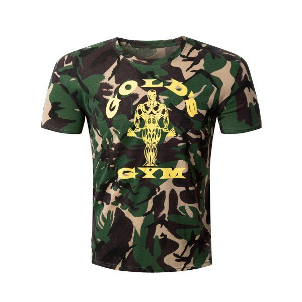 Casual Camo Letter Printed Round Collar Men's T-Shirt #shoes, #jewelry, #women, #men, #hats