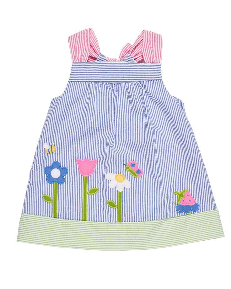 Florence Eiseman Multi-Colored Dress w/ Appliqued Garden shop www.namedropperkids.com #infant #baby #babygirl #boutique #toddler #shopping #shoponline #momlife #kids #kidfashion #spring #summer #2018