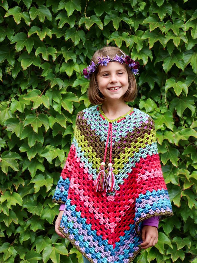 Super Groovy Poncho - free crochet pattern (although sized for a child this could easily scale up) by Cintia Gonzalez at My Poppet.