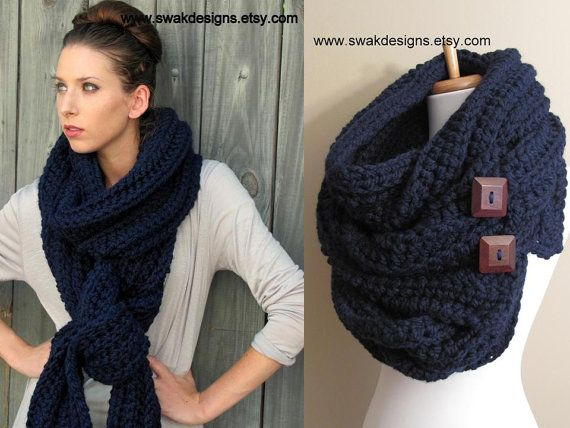 Convertible Tundra Eternity Scarf Oversized Wool Hooded Scarf Long Chunky Scarf - Navy or CHOOSE Your Color via Etsy