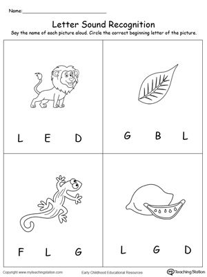 **FREE** Recognize the Sound of the Letter L Worksheet.Learn the alphabet and the sound of the letters by identifying which letter the picture starts with. Recognizing letter sounds is essential in reading and writing and are the basic building blocks of literacy learning. Start teaching your preschooler letter-sound correspondence today!