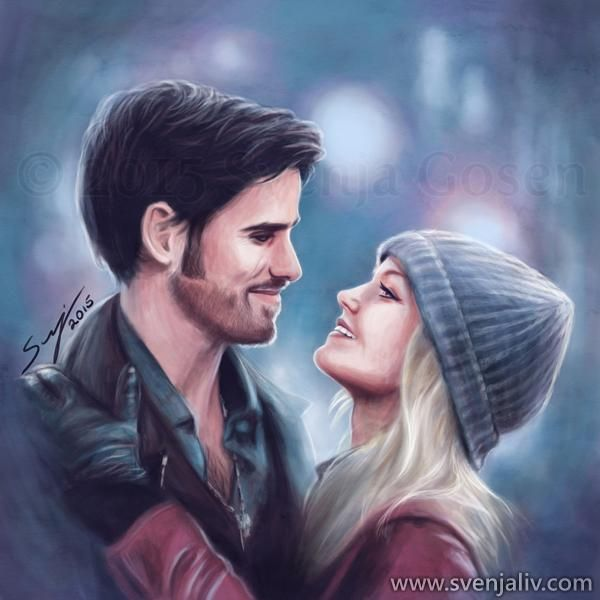 """""""Welcome home, love."""" Painting of a #CaptainSwan reunion <3 #OUATFanArtExpo #OnceUponATime #Hookers #UglyDucklings"""