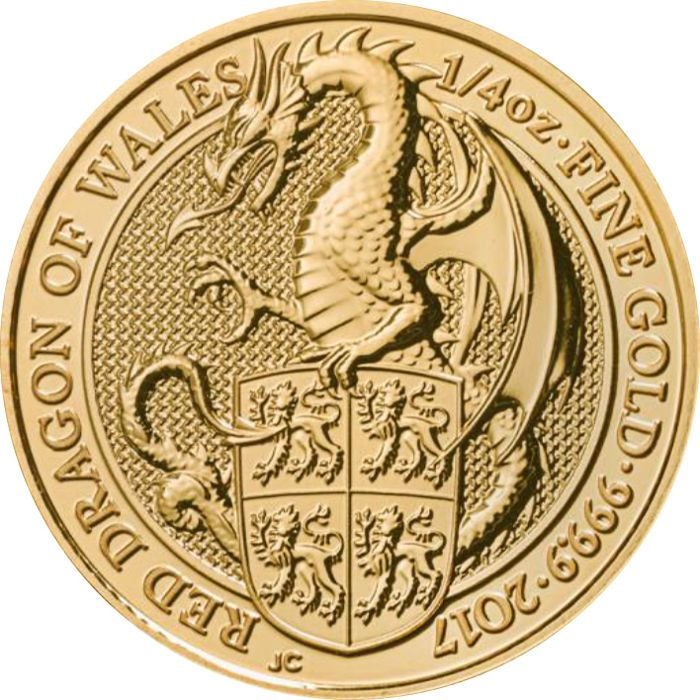 Groot-Brittannië - 25 pond - 1/4 oz 999 gold coin - de queens beesten de draak van Wales 2017  1/4 oz 999 goudstuk Queens beasts - de draak van Wales 2017 door de Royal Mint of Great BritainEen mooie bullion munt - prachtig gedetailleerd is de rode draak van wales komt te staanDit is het embleem van Wales. Als ook de vogel Grijp uit de vorige editie (kan ook worden gevonden in onze andere veilingen) de draak is een van de meest bekende mythische wezens en vertegenwoordigt kracht en…