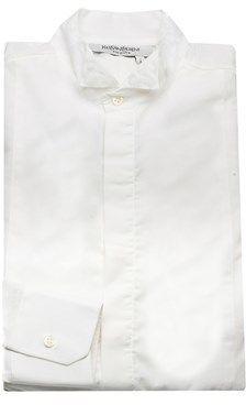 Saint Laurent Men's Cotton Wing Collar Dress Shirt White.