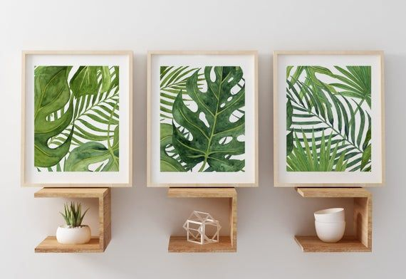 Banana Leaf Art Tropical Wall Art For Office Green Bedroom Decor Bathroom Watercolor Ferns Art Prints Or Canvas Set Of 3 Palm Leaves In 2020 With Images Green Bedroom Decor Green