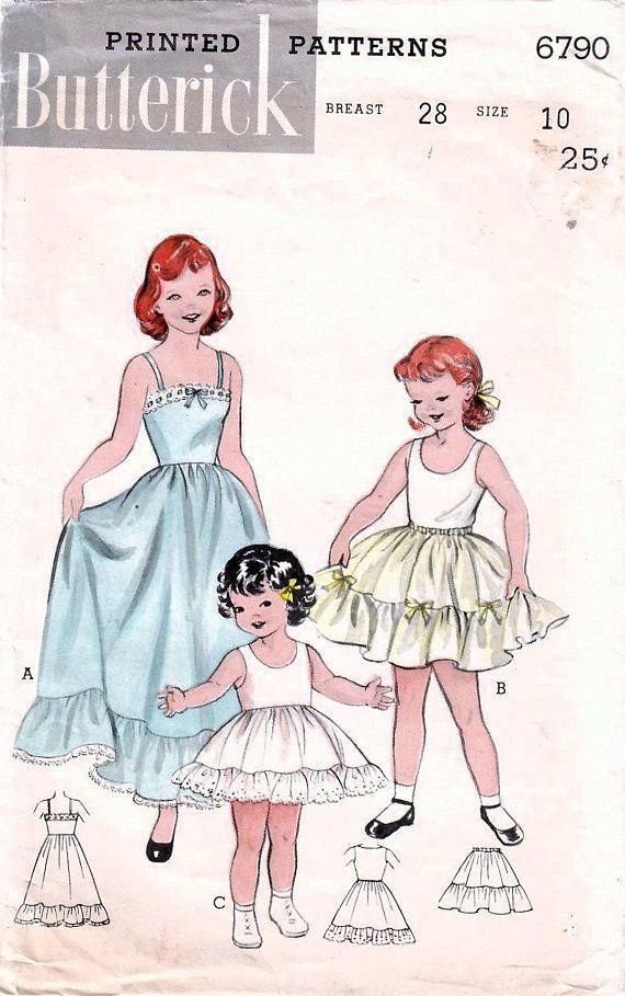 e3189b91f46da 1950s Butterick 6790 Vintage Sewing Pattern Girls Full Slip, Day ...