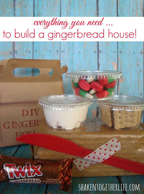 Adorable DIY gingerbread house kits - perfect for neighbors, kids and party favors!