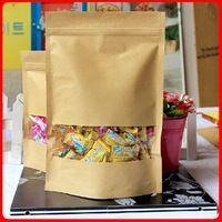 Venta al por mayor 16 * 22 4 bolsas de papel Kraft standup bolsas de café con la ventana bolsas de alimentos ziplock bolsas de té 100 unids por lote