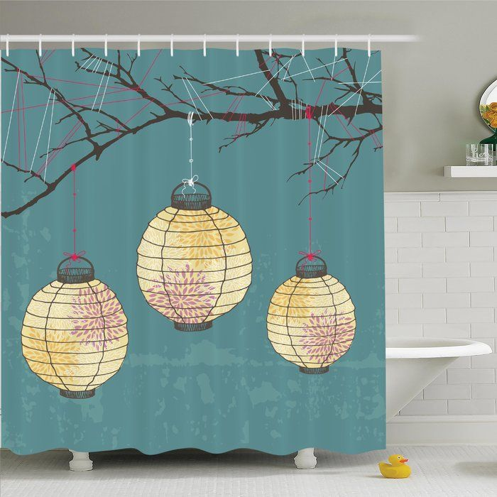 Ambesonne Lanterns Hanging on Tree Shower Curtain Set You'll Love | Wayfair