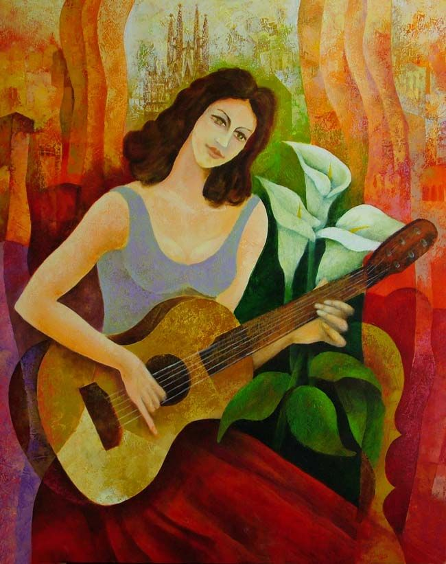 Victor Kinus Girl with Guitar