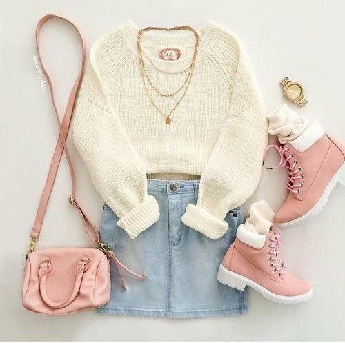 White Sweater and Denim Skirt with Long Gold Necklace and Pink Combat Boots