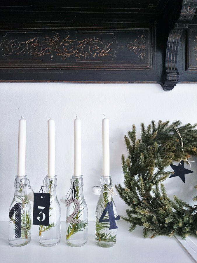 Frohen 1. Advent... - Foto von Mitglied lefilouchen #solebich #interior #einrichtung #inneneinrichtung #deko #decor #adventwreath #adventskranz #christmas #weihnachten #advent #whitecandle #bottle #flaschen #weißekerze