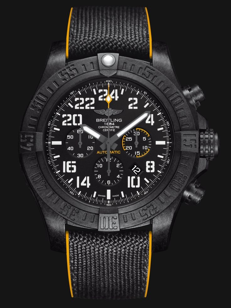 The superlative-charged Breitling Avenger Hurricane flaunts a standout 50mm diameter, an ultra-sturdy and ultra-light case in Breitlight® (a world premiere) and an all-black look enhanced by yellow accents and aviation-inspired stencil-type numerals. Selfwinding Manufacture Breitling Caliber B12 dr...