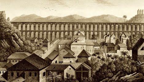 Vista de uma parte da cidade e do grande aqueduto do Rio de Janeiro - Jacques Étienne Victor Arago. Voyage autour du monde...