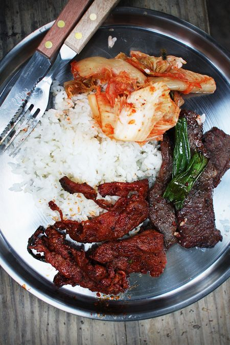 Korean BBQ for camping dinner (Marinated boneless short ribs, spicy pork, kimchi, and rice) | alamode