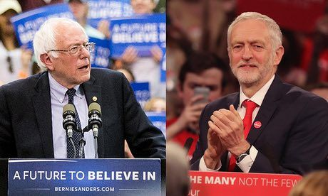 Visiting the UK, Bernie Sanders gives rousing support for Jeremy Corbyn. https://www.theguardian.com/us-news/2017/jun/02/i-dont-think-he-needs-my-advice-bernie-sanders-applauds-jeremy-corbyn