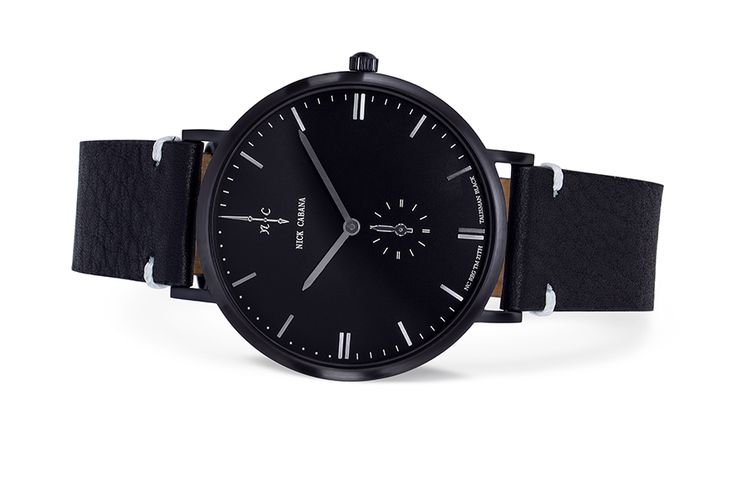 Nick cabana - Talisman Black.  Minimalistic black watch for men. 42 mm, black leather strap, white details.
