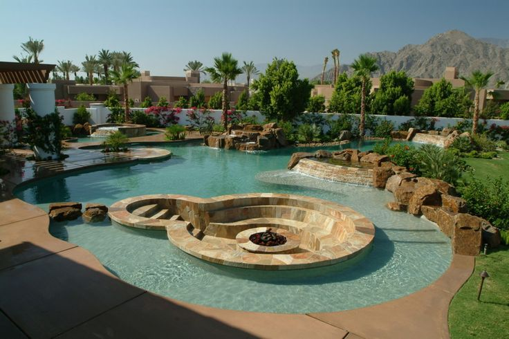 Large Unique Style Tropical Pool Designs With Stone Materials Pool ...