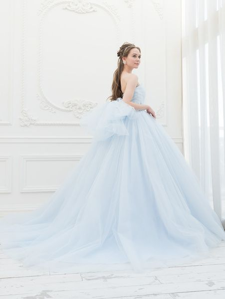Cinderella & Co.  (シンデレラ・アンド・コー)  ライトブルーのフェアリーなBigシルエットのチュールカラードレスSS5591LB