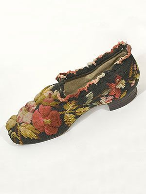 Gentleman's Berlin work slippers, c.1860. A colorful three-dimensional design worked in wool on canvas.