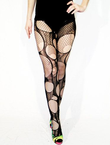 Accessorize Agoraphobix double layered tattered & torn tights fishnet leggings via Etsy