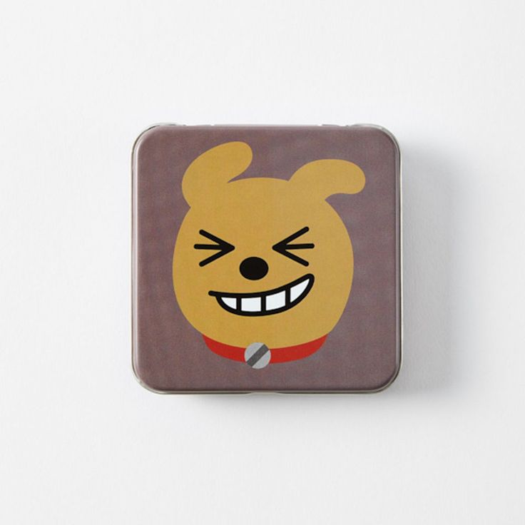 Korea Kakao Friends Charater Square Brown 9cm 3.5in Tin Case Frodo #KakaoFriends