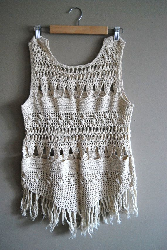 RESERVED FOR: christina yother  The Fringe - Vintage Boho White Crochet Tassel Fringe Tank Top