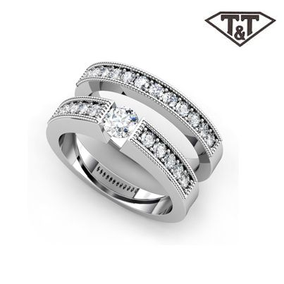 T & T diamond engagement ring and wedding band channel set round brilliant.