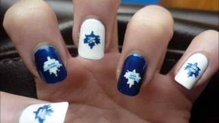 "Unique ""TORONTO MAPLE LEAFS"" Nail Art Tutorial, via YouTube."