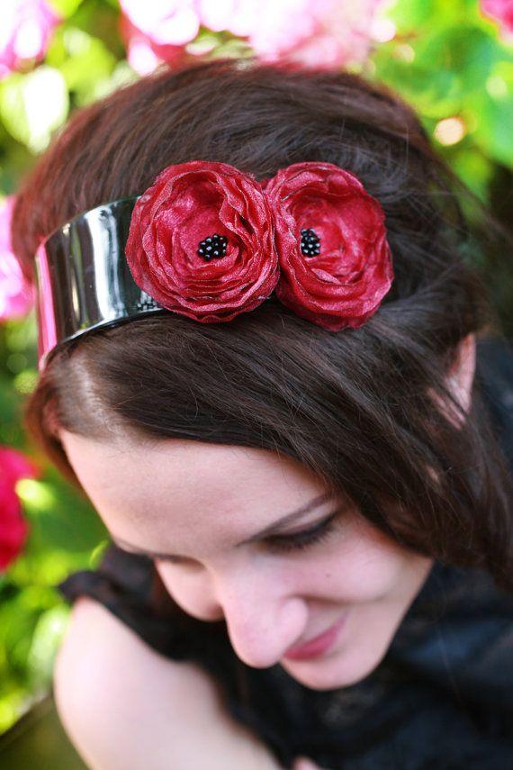 Ladies headband handmade red poppyRed flower by handmadeBYmamas