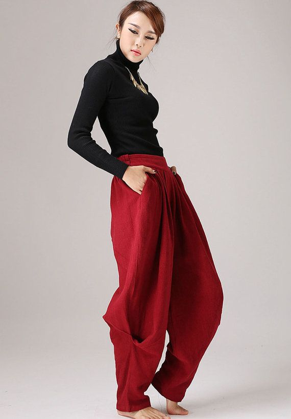 Pleated  maxi red pants linen trousers Casual pants by xiaolizi