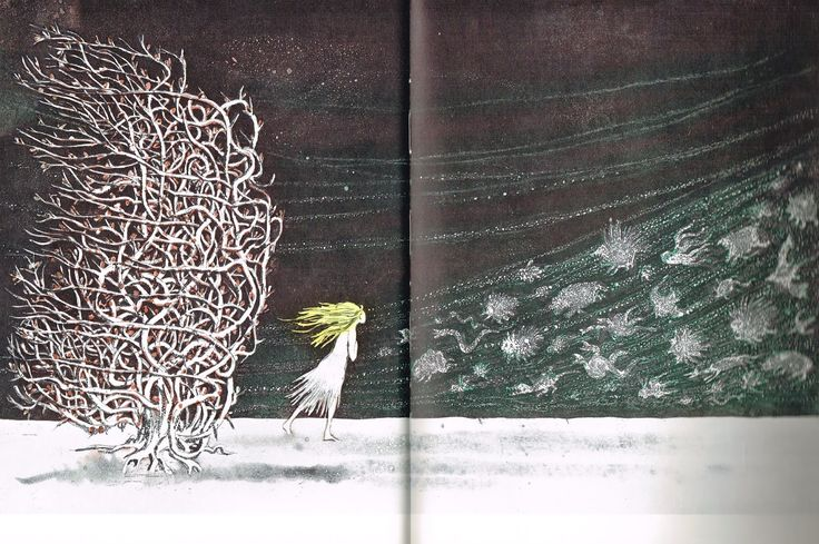 children's book illustrations: Andersen; Die Schneekönigin/ Snedronningen/ Snow Queen/ Sneeuwkoningin; ill. (etchings/radierungen) Lars Bo /Bo Lars; Carlsen, 1968 ( 2500 ex. extremely rare)