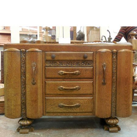 Sharing is caring!  P15002 - Antique Oak Art Deco Sideboard Converted to Vanity Sink #https://www.pinterest.com/munlimited/