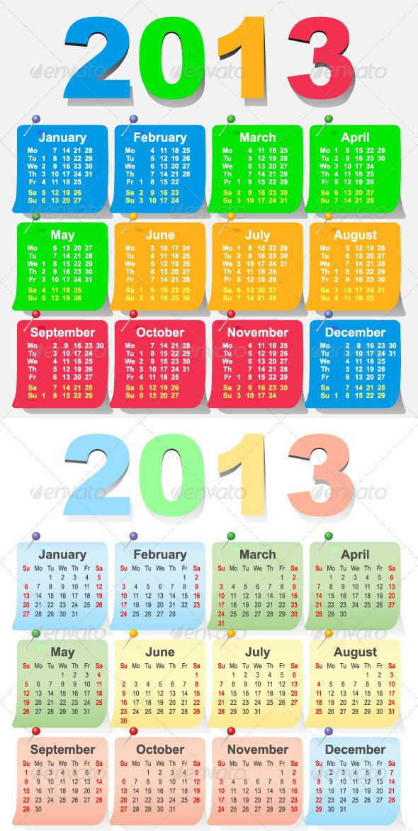 2013 Calendar Design - Week Starts with Monday