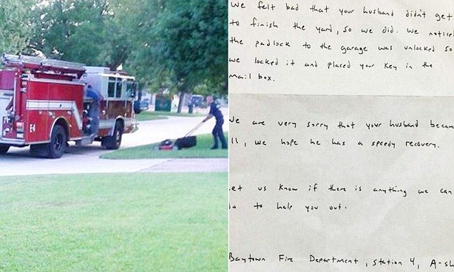 Firefighters finish mowing lawn for wife. Wonderful gesture. Well done, guys :)