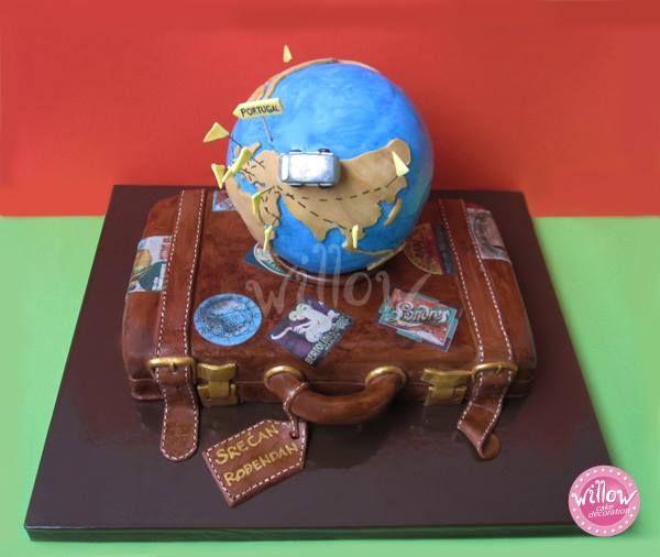 Suitcase And Globe Cake Cake Decorating Pinterest