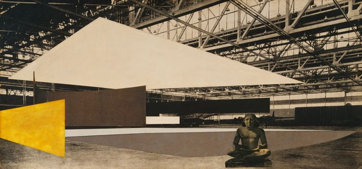 "Ludwig Mies van der Rohe. Concert Hall Project: interior perspective. 1942. Graphite, cut-and-pasted photoreproduction, cut-and-pasted papers, cut-and-pasted painted paper, and gouache on gelatin silver photograph mounted on board, 29 1/2 x 62"" (75 x 157.5 cm). Mies van der Rohe Archive."