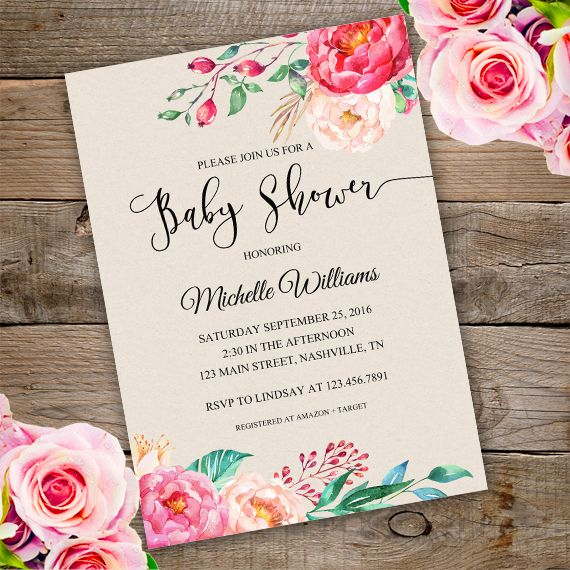 Printable Floral Baby Shower Invitation Template With Watercolor Flowers.  Invite Your Guests To Your Baby