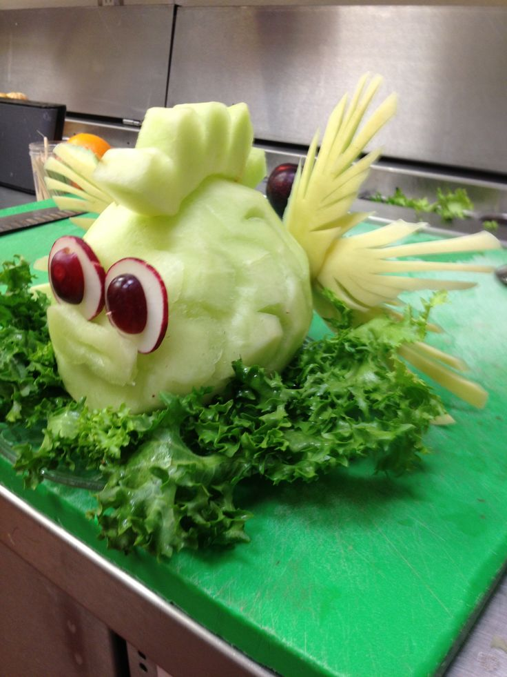 Fruit carving fish