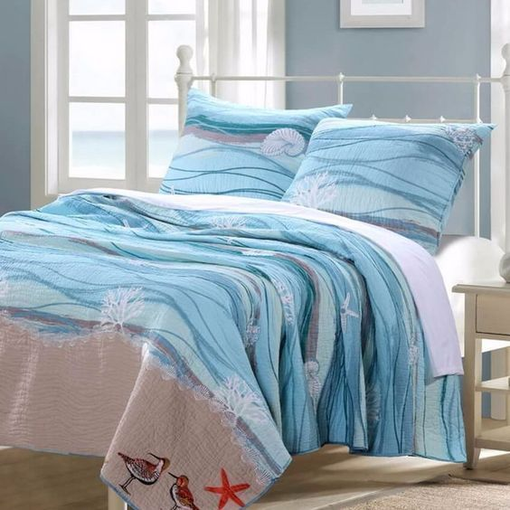 Coastal Beach Nautical Blue Cotton Quilt Set Hotel Style