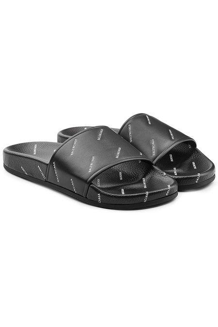 5067353f5637 BALENCIAGA LOGO-STAMPED LEATHER SLIDE SANDALS - BLACK SIZE 8 M.  balenciaga   shoes