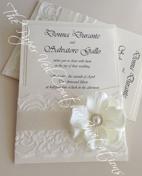 Superior Sophia   Vintage Glamour Lace Panel Pocket Couture Wedding Invitation    Cream And White   Flower, Pearls And Crystals Design