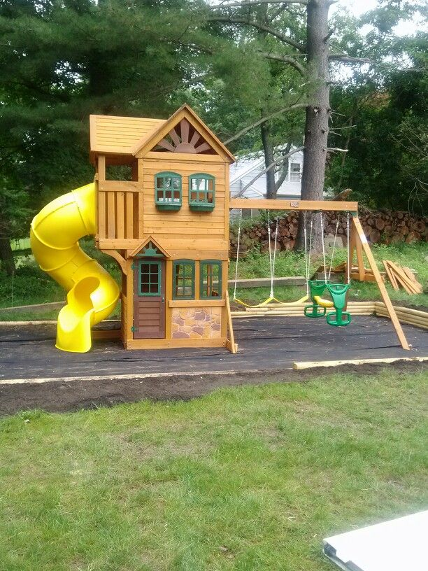 Big Backyard Goldenridge Deluxe Playset installed in Southport, CT.