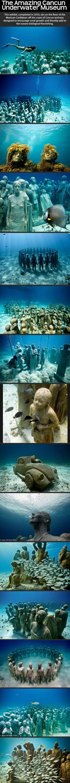 The Amazing Cancun Underwater Museum photography beach beautiful ocean travel vacation museum cancun destination destinations travel destinations