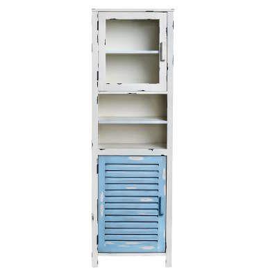 Der angesagte Vintage-Look hält jetzt auch Einzug in Ihre Wellness-Oase - mit dem Ocean Side-Badezimmerschrank im Shabby-Chic-Style. Das hohe, schlanke Möbel in Creme-Weiß und Hellblau bietet reichlich Platz für Handtücher, Kosmetik, Fön, Bürsten