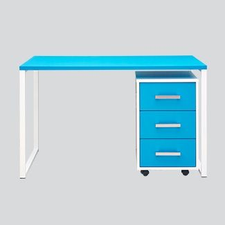 New Metro desk frame option with square moby. Love our new Azure Blue laminate!