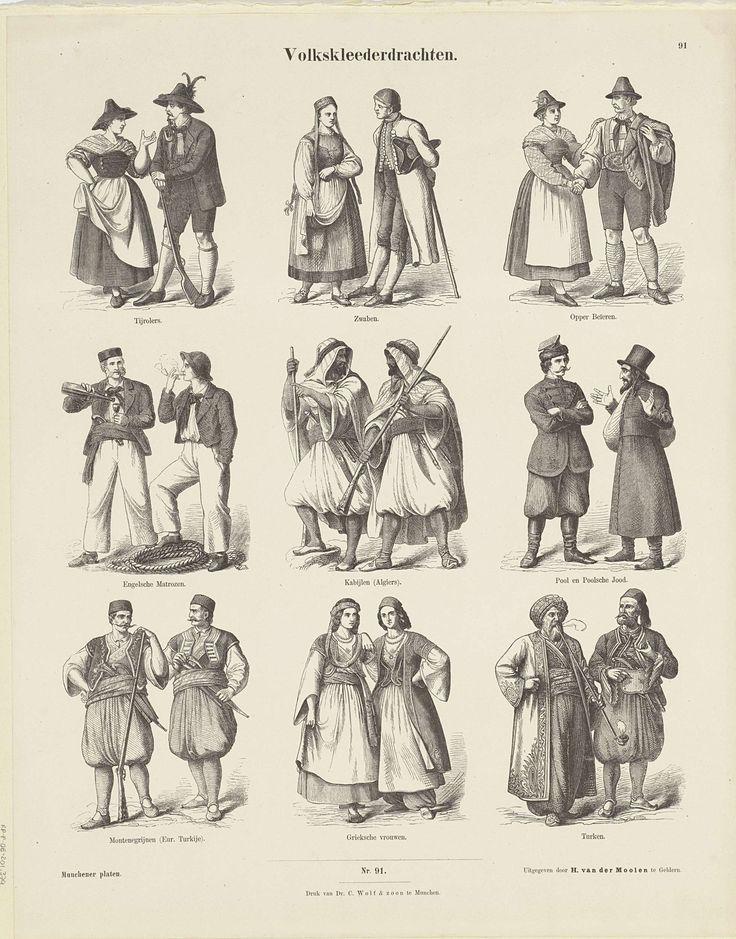 E. Küster | Volkskleederdrachten, E. Küster, Hermann van der Moolen, K. Braun en Fr. Schneider, c. 1820 - 1843 | Blad met 9 voorstellingen van paren in traditionele klederdracht, waaronder twee Engelse matrozen, twee Griekse vrouwen en twee Turkse mannen in traditionele kleding. Onder de afbeeldingen een onderschrift. Genummerd midden onder: Nro. 91. Genummerd rechtsboven: 91.