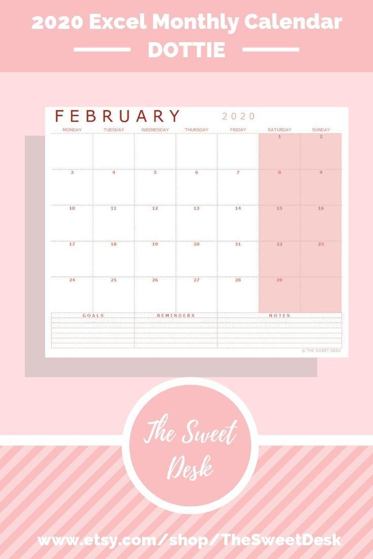 Editable 2020 Excel Calendar Template Printable Modern Monthly