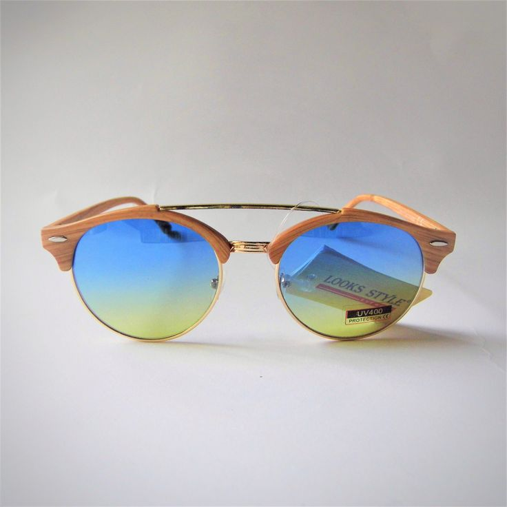 Occhiali da sole rotondi effetto legno - Ponte semplice